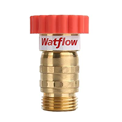 "Watflow Water Pressure Regulator, Lead-Free Brass, Garden Hose Pressure Regulator/Reducer, 40-50 psi, 3/4"" Hose, Used for Camper, Trailer, RV, Garden, Plumbing System by Watflow"