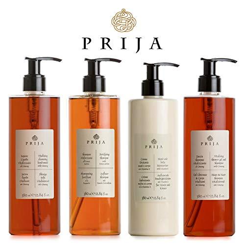 Prija XL Set Flüssigseife Haarshampoo Duschgel Bodylotion 4x 380ml Ginseng Spa