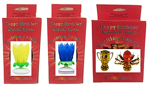3 Pack Birthday Candle Assortment, 2 Colorful Flowers, and 1 Sport Ball You Choose Happy Birthday Candle (Basketball)