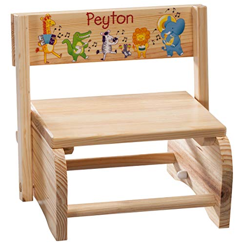 Fox Valley Traders Personalized 2-in-1 Children's Step Stool and Chair, Customized with Kid's Name, Musical Animals Design