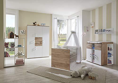 Babyzimmer Möbel Anna in Goldeiche und Weiß 6 TEILE Komplettset Kinderzimmer Baby Schrank Babybett Wickelkommode Matratze