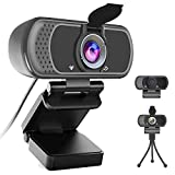 Webcam, 110 Degree Widescreen Webcam Camera with Microphone/Privacy Cover/Tripod, 1080P HD USB Web Cameras for Computers Laptop Desktop PC Monitor MAC Video Conference Recording Calling Streaming
