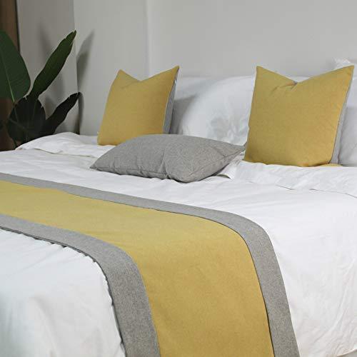 HXFYJ Cubierta de Cama de Moda Bufanda de Cama Corredores de Cama de poliéster Edredón Colchas de Cama Toalla Ropa de Cama Cubierta de protección para Dormitorio Hotel,Yellow-48X210cm for 150cm Bed