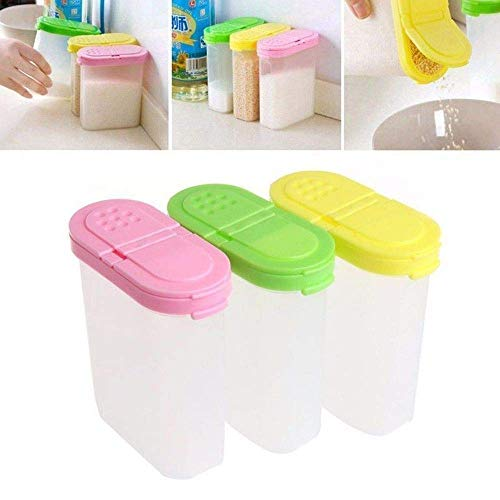 NIHAOA Barattolo di marmellata Doppia Jar Jar Zucchero condimento Shaker Ciotola Cucina Box di stoccaggio condimento |condimento (Colore: Verde) (Color : Green)