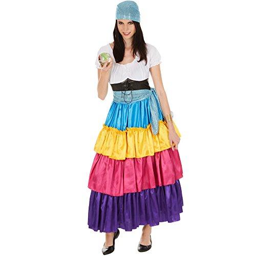 TecTake dressforfun Frauenkostüm Hellseherin   wundervolles, langes Kleid   Bunt und bezaubernd   inkl. Bindegürtel (M   Nr. 301011)
