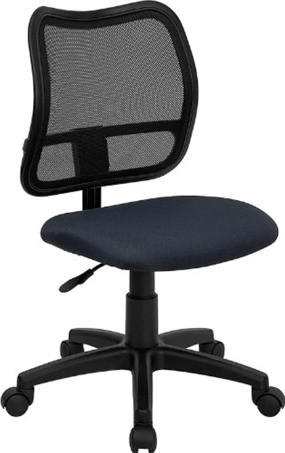 Flash Furniture WL-A277-NVY-GG Mid-Back Mesh Task Chair with Navy bluee Fabric Seat