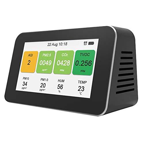 Clicke Desktop Luftdetektor Home Office CO2 Monitor PM2.5 TVOC Aufzeichnungsdatenlogger Monitor USB-Aufladung Mit Datums- Und Uhrzeitanzeige Für Temperatur Und Luftfeuchtigkeit