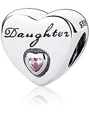 Bransoletka charm zawieszka dla córek, z cyrkonią i srebrem wysokiej próby 925, charmsy do bransoletek Pandora i innych europejskich
