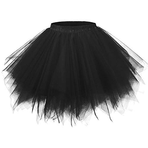 GirstunmBrand Damen 50er Vintage Tüllrock Petticoat Mehrfarbig Bubble Tanzkleid Rock Schwarz-XXL