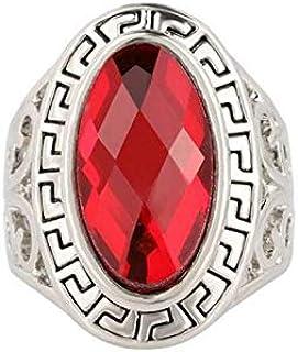 خواتم مصنوعة من خليط معدني مزين بالعقيق الأحمر الشفاف للنساء