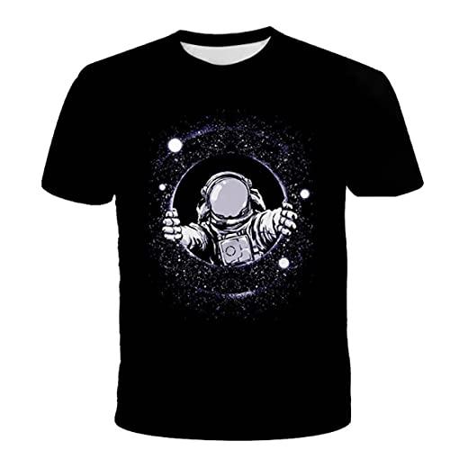 YANJJ 3D Print Sommer Kurzarm Kinder Polyester Rundhals T-Shirt Geeignet Für Outdoor Fitness Sport Lose Kurze Ärmeln C-100