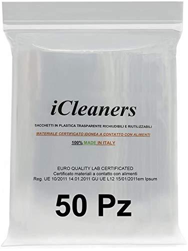 Buste in plastica Trasparente Prodotte in Italia per Alimenti richiudibili risigillabili, Chiusura a Pressione, Riutilizzabile, Molto Resistente, 100% Made in Italy (40x50 50Pz)