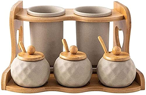 Porseleinen kruidenkruidentank met houten rek kruiden tank set lepel dispensing box kruiden tank rack Kruiden potten…