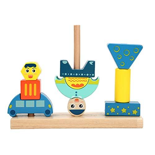 Montessori Juguete Juego de Bloques de Madera Tirar Habilidad de la Zanahoria Alpinia Forma Matching Tamaño Cognición Educación interactiva Juguete para niños (Color : Blanco)