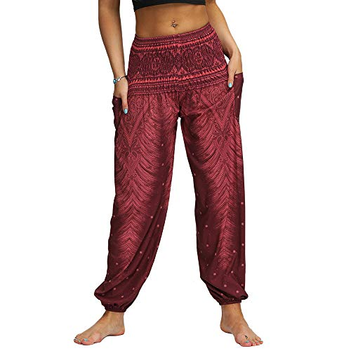Nuofengkudu Mujer Hippies Pantalones Harem Tailandeses Boho Estampados Bolsillos Cintura Alta Baggy Yoga Pants Verano Playa Fiesta (Vino Tinto,Talla única)