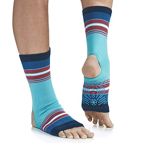 Gaiam Yoga Sock Anklets - Grippy Leg Warmer Ankle Socks for Yoga, Barre, Pilates, Dance, Aerobics - Bermuda Blue