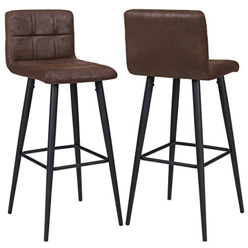2X Barhocker Barstuhl aus Stoff Leinen Drehstuhl Gestell aus Buche Tresenhocker Bar Sessel gut gepolstert mit Lehne Farbauswahl Duhome 5117A, Farbe:Dunkel Braun, Material:Lederoptik
