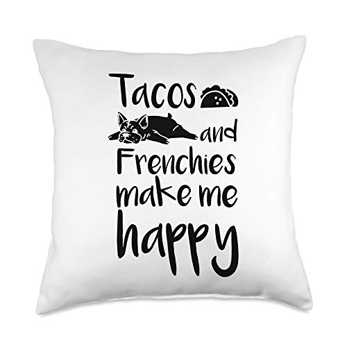 Funny Frenchie Gifts Tacos French Bulldog Dog Throw Pillow, 18x18, Multicolor