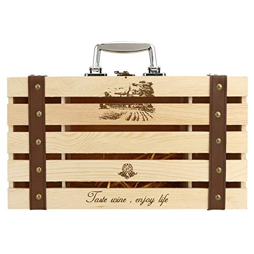 CjnJX-Vases Caja de Vino Tinto de Madera, Caja de Regalo de Vino de Barra Recta Hueca, Recipiente de Vino para 2 Botellas de Vino, con asa portátil, 35 x 20 x 10 cm