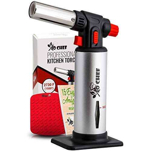 Kitchen Torch, Blow Torch - Refillable Butane Torch With Safety Lock & Adjustable Flame + Fuel gauge - Culinary Torch, Creme Brûlée Torch for Cooking Food, Baking, BBQ + FREE E-book, Fuel Not Included