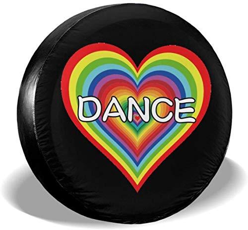 MODORSAN Love Dance Rainbow Heart - Cubierta de neumático de Rueda de Repuesto de poliéster, Cubiertas de Rueda universales para Jeep, Remolque, RV, SUV, camión, Accesorios, 17 Pulgadas