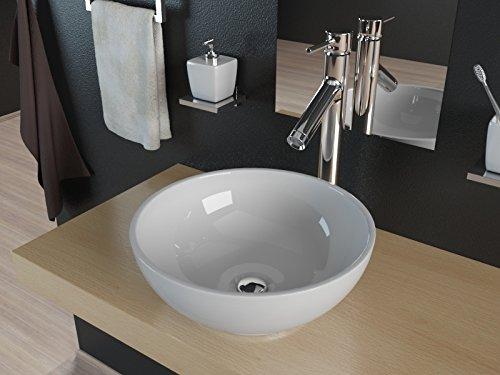 Kerabad Aufsatzwaschschale aus Mineralguss Waschbecken Waschtisch Einbaubecken KB-TR340