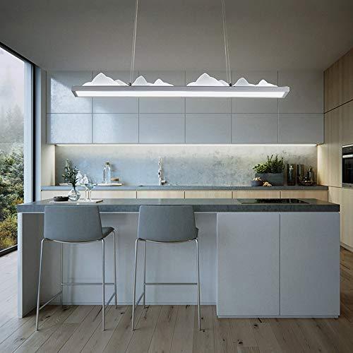 Suspension LED moderne - Art créatif - Pour salle à manger, table de salle à manger, salon, lustre décoratif - Design rectangulaire - Fer en aluminium et acrylique - Lumière blanche 6000 K 45 W