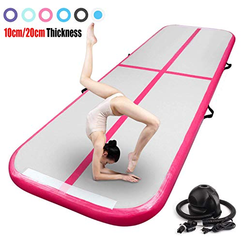 FBSPORT 9.84ft Inflatable Gymnastics Air Track Tumbling Mat 4 inches Thickness Airtrack Mats for Home Use/Training/Cheerleading/Yoga/Water with Pump
