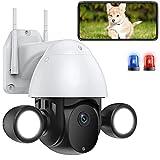 AINSS IP PTZ Cámara WiFi de Vigilancia Exterior HD 1080P con Focos Iluminación Tuya,Visión Nocturna en Color,Pan 350°/Tilt 90°,Impermeable,Detección de Movimiento,Audio Bidireccional (WiFi-Cámara)