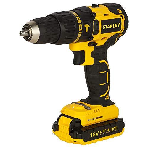 STANLEY SBH201D2K 18V,13mm Li-ion Cordless Hammer Drill Kit with Brushless Motor- 2x1.5Ah Batteries Included