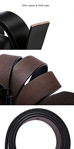 Dovava Mens Leather Belt Anti-scratched Buckle Soft Genuine Belts for Casual Jeans Dress (Black 2003, 115CM(30'' - 39''))
