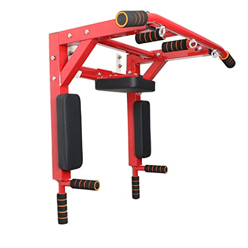 Indoor Metal Horizontal Bar, Household Wall Pull-Up Auxiliary Machine Detachable Multifunction Power Arm Force Fitness Equipment,Red