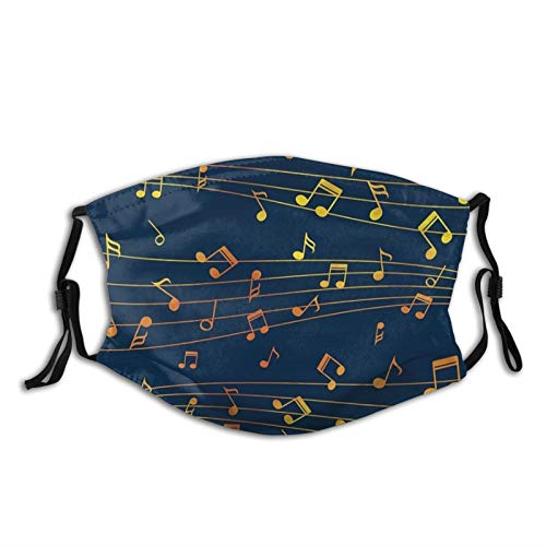 Watercolor Music Notes On A Staff Funny Music-Face Mask With 2 Filters, Reusable&Washable Balaclava, For Men Women Adult&Teens