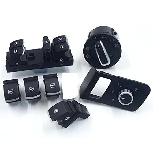 Lyqfff para Volkswagen VW Caddy, Puerta de Seguridad, Tanque de Combustible, Espejo, lámpara antiniebla, Faro, Interruptor de Ventana, botón 1J4959857B 1T0959851 1T1 959