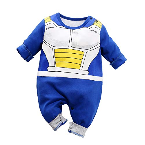 Beal Shopping Cosplay Long Sleeve Baby Boy and Girls Vegeta Rompers Costume Jumpsuit Baby Clothes, Blue2, 6-9 Monthes