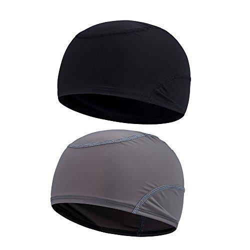 2PCS Helmet Liner Skull Cap, Quick Dry Sports Beanie Great Cycling Caps Performance Moisture Wicking for Men Women (Black & Gray)