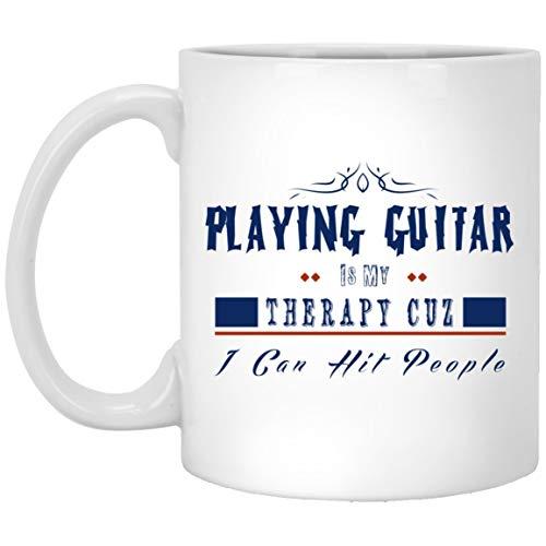 Cukudy koffie mokken geschenken voor wie graag spelen gitaar het is mijn therapie, ik kan raken mensen geschenken op verjaardag, Kerstmis, dag van de verjaardag - wit keramische Tee Cup 11oz