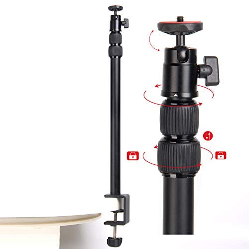 Regetek 18-43 Inch Desk Mounting Stand with 360°Rotatable Ball Head, Tabletop Mount Stand, Aluminum Desktop Light Stand with 1/4 Screw for DSLR Camera, Ring Light, Video, Light Panel,Mini Projector