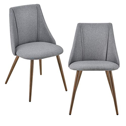 [en.casa] 2X Polsterstuhl Design Stühle Esszimmerstuhl 2er Set Textil Grau Bürostuhl mit Metallbeinen in Holzoptik 2 STK.