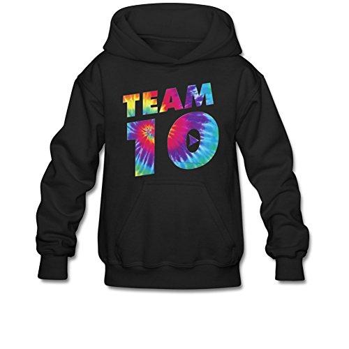 Aliensee Youth Colorful Team 10 Hoodie Sweatshirt Suitable for 10-15yr Old S Black