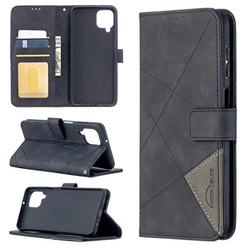 GUOQING Funda de piel sintética para Samsung Galaxy A12, multifunción, con función atril, plegable, color negro