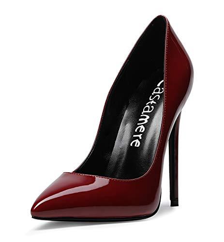 CASTAMERE Damen High Heels Schwarzes Futter Spitzen Pfennigabsatz Pumps Slip On Elegant Klassische Schuhe 12CM Stiletto Heels Lackleder Weinrot Pump EU 42