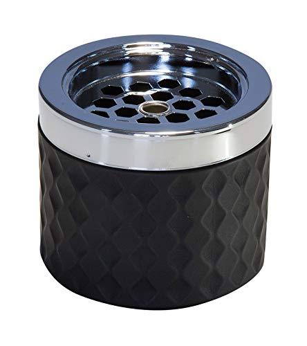 APS Windaschenbecher, Ascher Aschenbecher, aus verchromten Metall, gefrostetes Glas, mit Bajonettverschluss, Ø 9,5 cm, 8 cm Höhe, schwarz