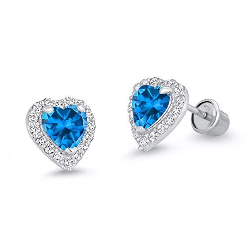 925 Sterling Silver Rhodium Plated Blue Heart Cubic Zirconia Screwback Baby Girls Earrings