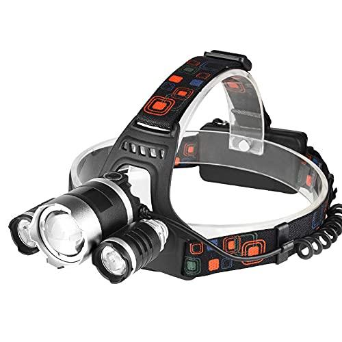 Interfaz de alta potencia al aire libre LED aleación de aluminio faro T6 luz fuerte recargable tres cabeza lámpara noche pesca luz iluminación
