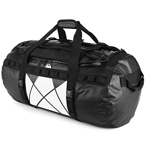 The Friendly Swede Wasserfeste Reisetasche Duffle Bag Rucksack - 30L / 60L / 90L - Seesack, Sporttasche Duffel Dry Bag mit Rucksackfunktion - SANDHAMN (Schwarz-Kronenprint, 90L)