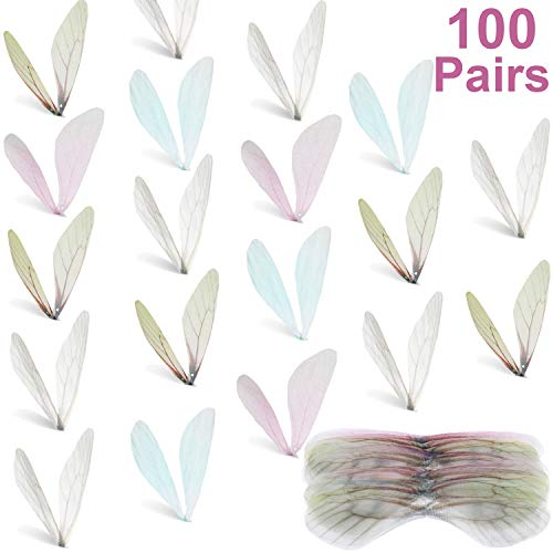 100 Pieces Dragonfly Wing Charms Artificial Butterfly Wings Craft Wing Earring Charms for DIY Art Craft Women Earrings Pendant Jewelry