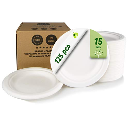 GoBeTree 125 Platos Desechables biodegradables de Papel de caña de azúcar de Ø15 cm en Caja de cartón. Platos extrafuertes de Color Blanco. Platos Redondos pequeños de bagazo.