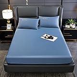 BOLO Bedding - Sábana bajera de microfibra cepillada (180 x 220 cm), color azul