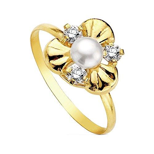 Anello perla oro 18K Multipiedra [Ab3114]